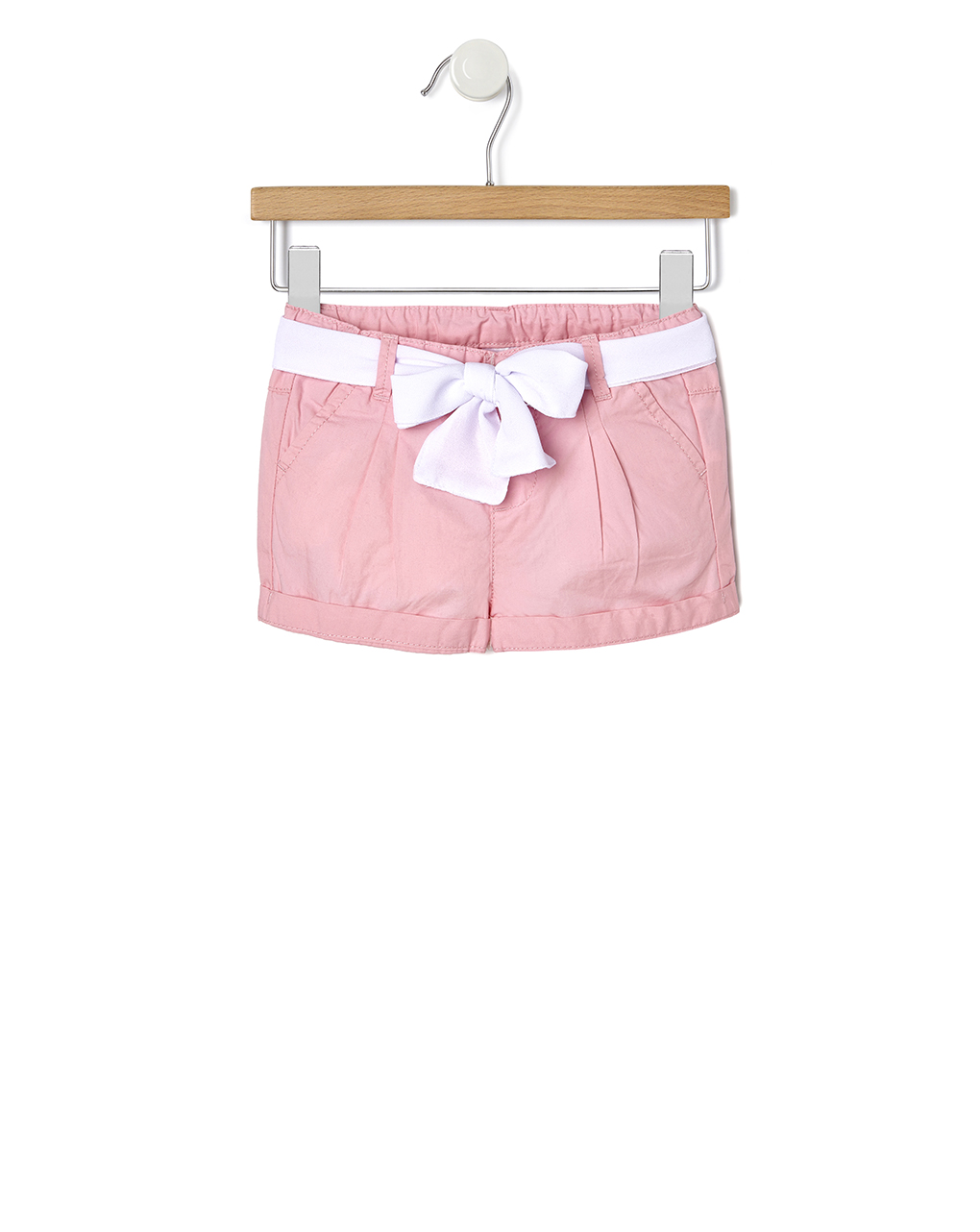 Σορτς Ροζ με Λευκή Ζώνη για Κορίτσι