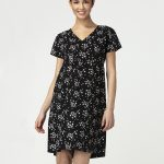 Γυναικείο Φόρεμα Θηλασμού Μαύρο με Στάμπα