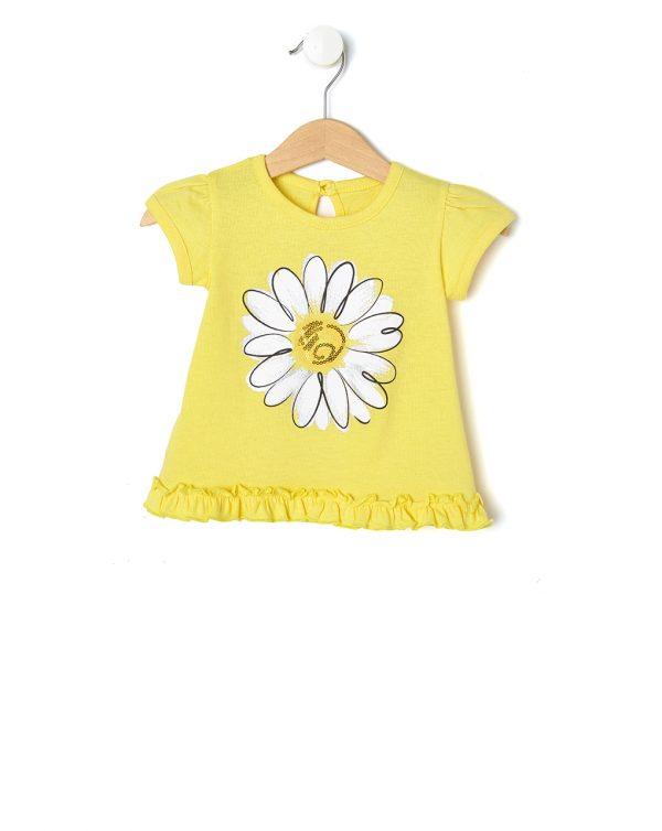 T-Shirt Jersey Κίτρινο με Στάμπα Μαργαρίτα για Κορίτσι