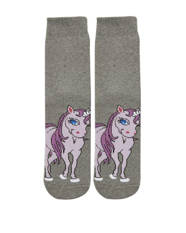 Κάλτσες Γκρι Αντιολισθητικές για Κορίτσι