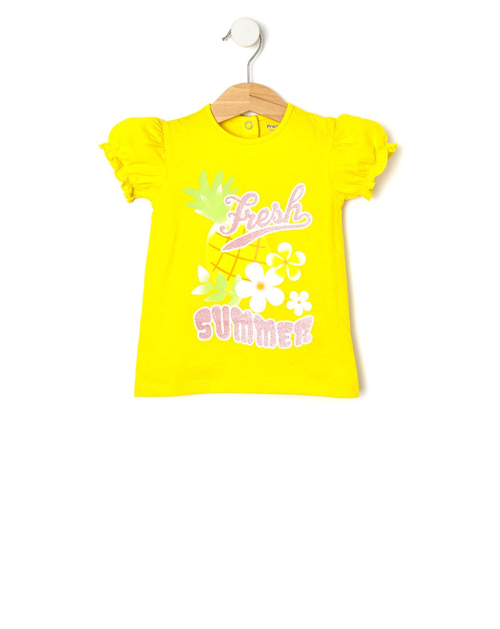 T-Shirt Jersey Κίτρινο με Στάμπα για Κορίτσι