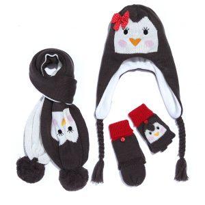 Σετ Σκουφί Κασκόλ Γάντια με Πιγκουίνο για Κορίτσι