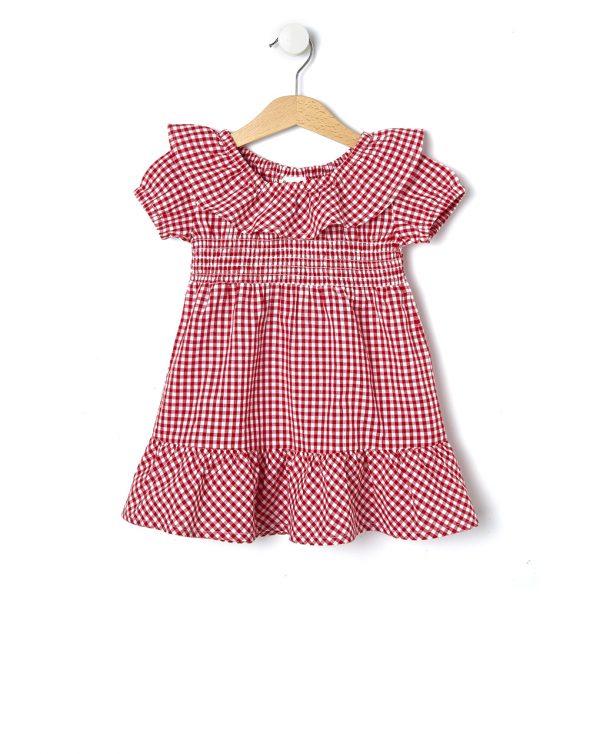 Φόρεμα Κοντομάνικο Vichy Καρό Κόκκινο για Κορίτσι