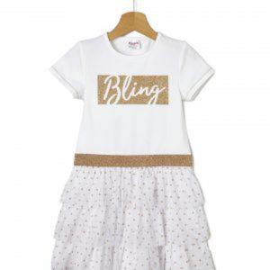 Φόρεμα Λευκό με Τούλι Μεγ.8-9/9-10 Ετών για Κορίτσι