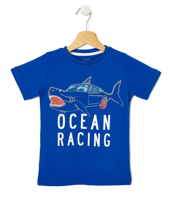 T-shirt Μπλε με Στάμπα Μεγ.8-9/9-10 ετών για Αγόρι