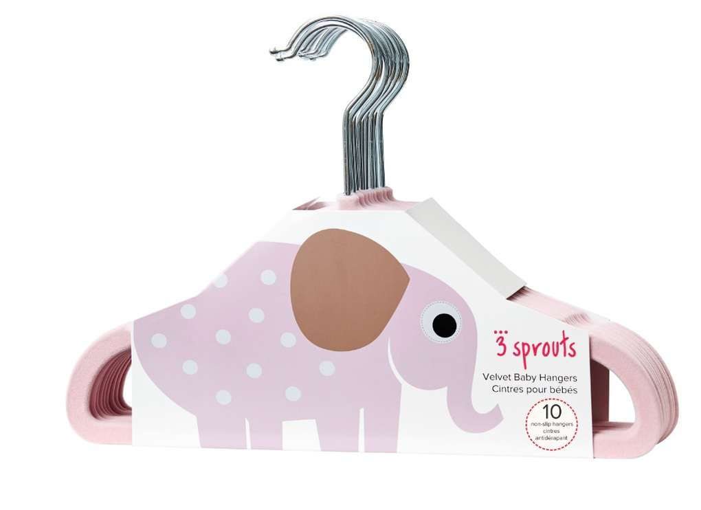 3Sprouts Kρεμάστρες  Elephant Pink (set of 10)