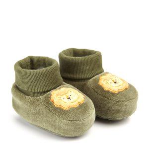 Βρεφικά Παπούτσια Αγκαλιάς Σενίλ Χακί για Αγόρι
