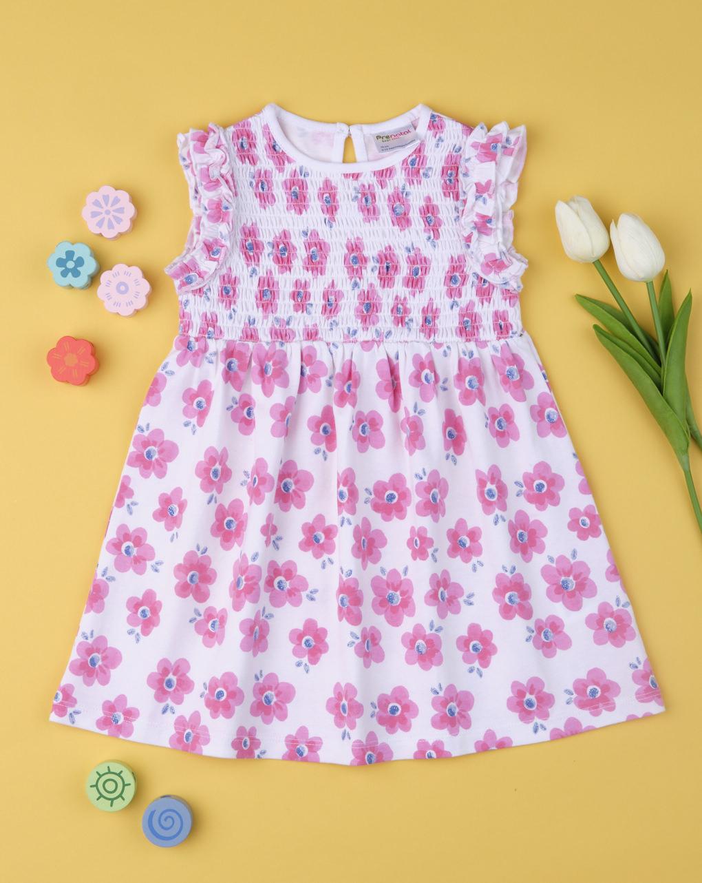 Φόρεμα Λευκό Εμπριμέ με Λουλούδια για Κορίτσι