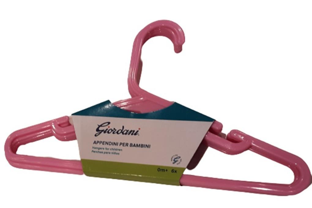 Giordani  Ροζ Πλαστική Κρεμάστρα - 6 τεμ