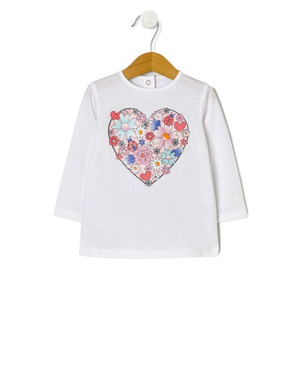 Μπλούζα Λευκή με Στάμπα Glitter για Κορίτσι