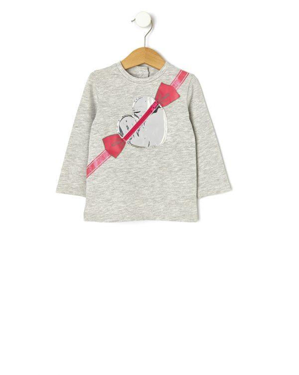 Μπλούζα Βαμβακερή με Ένθετα Γκρι για Κορίτσι