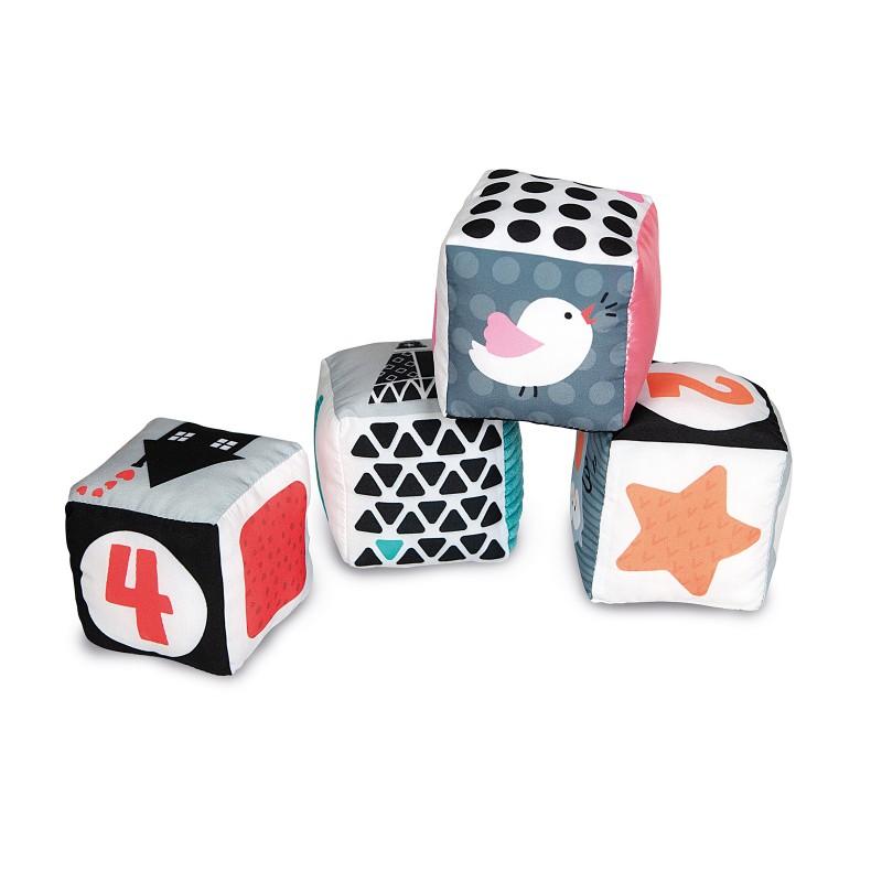 Βρεφικό  Παιχνίδι Μαλακοί Κύβοι Άσπρο-Μαύρο 1000-17321
