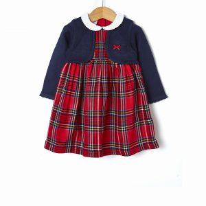 Φόρεμα Καρό με Εφέ Ζακετάκι για Κορίτσι