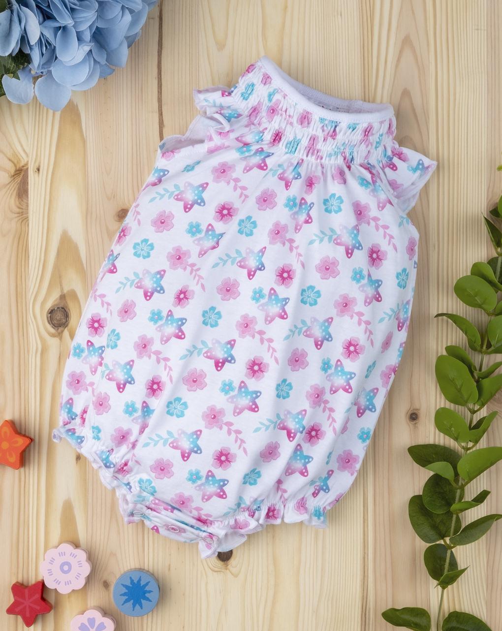 Φορμάκι Jersey με Αστέρια & Λουλούδια για Κορίτσι