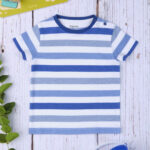 T-shirt Βαμβακερό Ριγέ Μπλε - Γκρι για Αγόρι