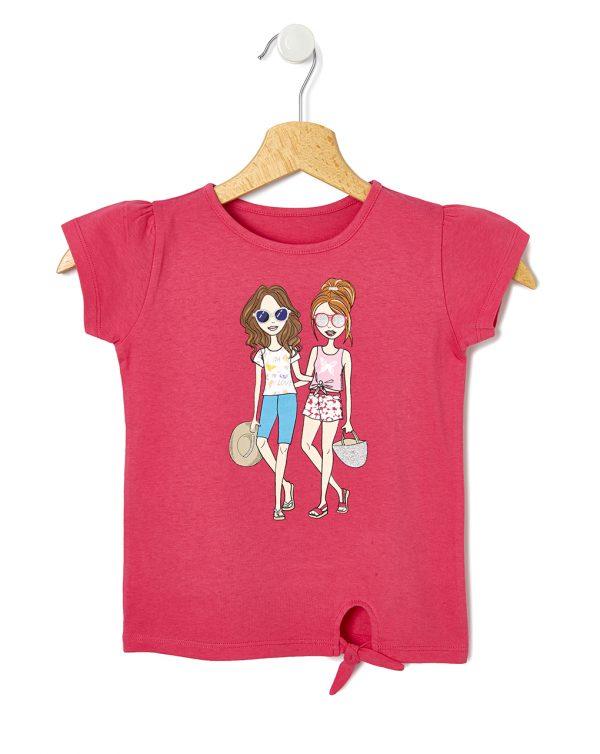 T-Shirt Jersey Basic Φούξια με Στάμπα και Κόμπο για Κορίτσι