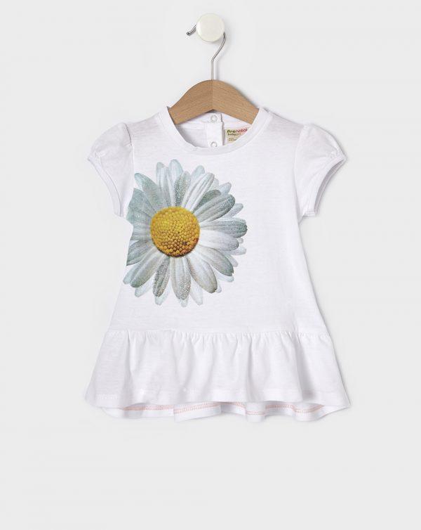 T-Shirt Λευκό με Στάμπα Μαργαρίτα για Κορίτσι