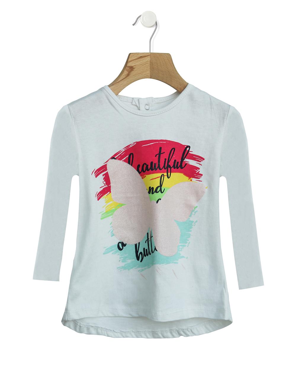 Μπλούζα Μακρυμάνικη Basic με Στάμπα για Κορίτσι