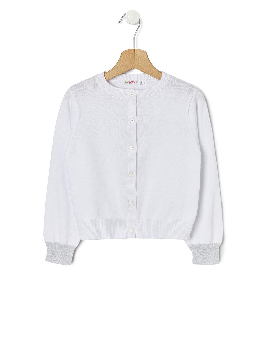 Ζακέτα Πλεκτή Basic με Lurex Λευκή για Κορίτσι