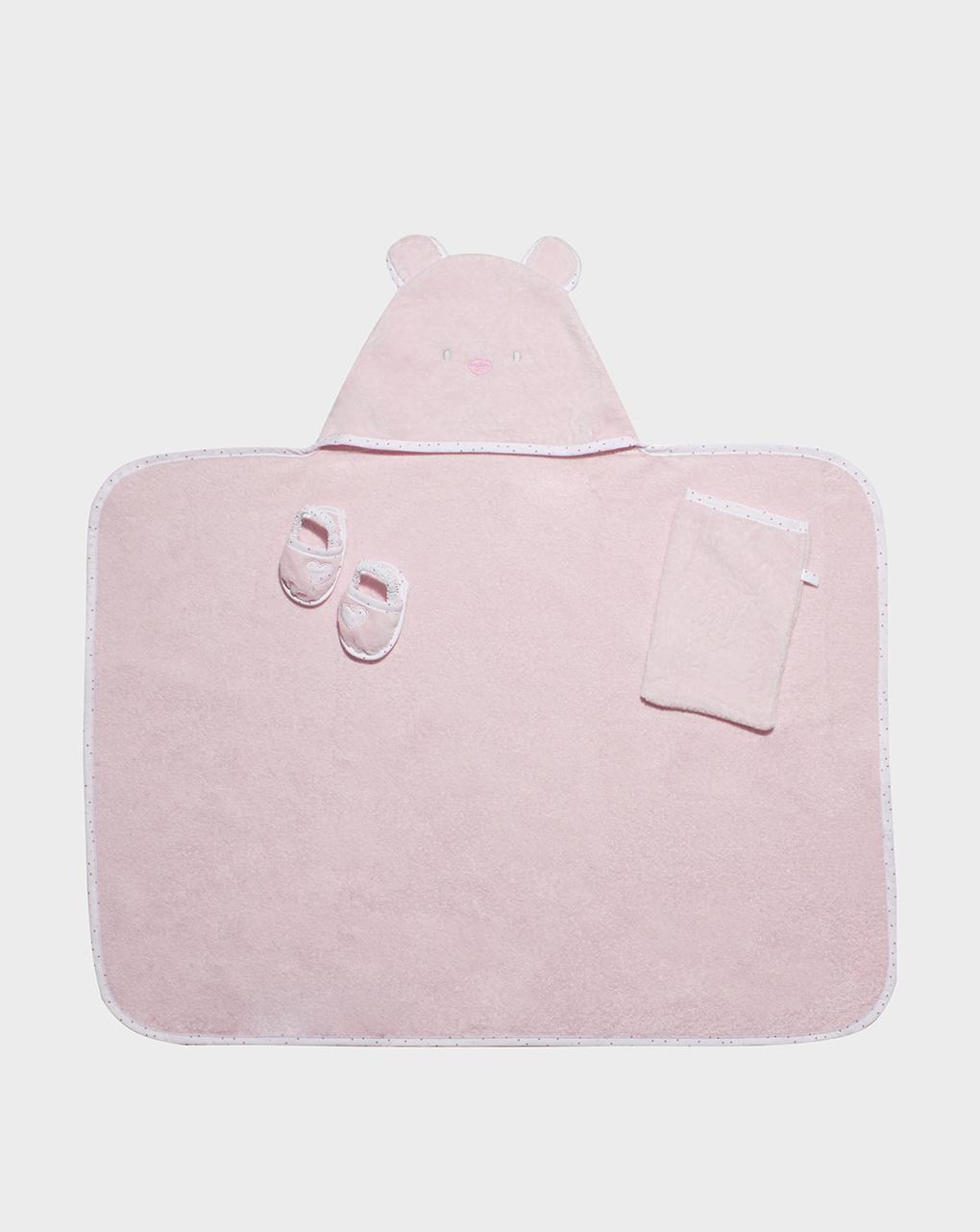 Μπουρνούζι Ροζ με Παντόφλες και Κουμπί για Κορίτσι