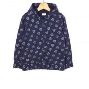 Ζακέτα Φούτερ Basic Σκούρο Μπλε με Καρδούλες Μεγ.8-9/9-10 Ετών για Κορίτσι
