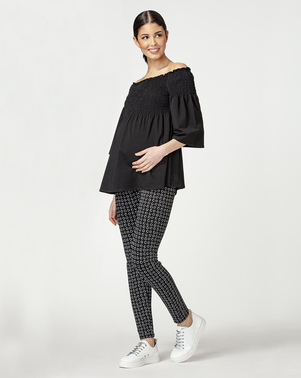 Γυναικείο T-Shirt Θηλασμού Μαύρο με Σούρα