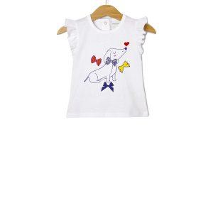 T-Shirt Jersey Λευκό με Στάμπα Σκυλάκι για Κορίτσι