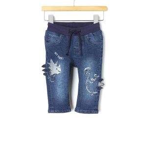 Παντελόνι Denim με Patch Δεινόσαυρους για Αγόρι
