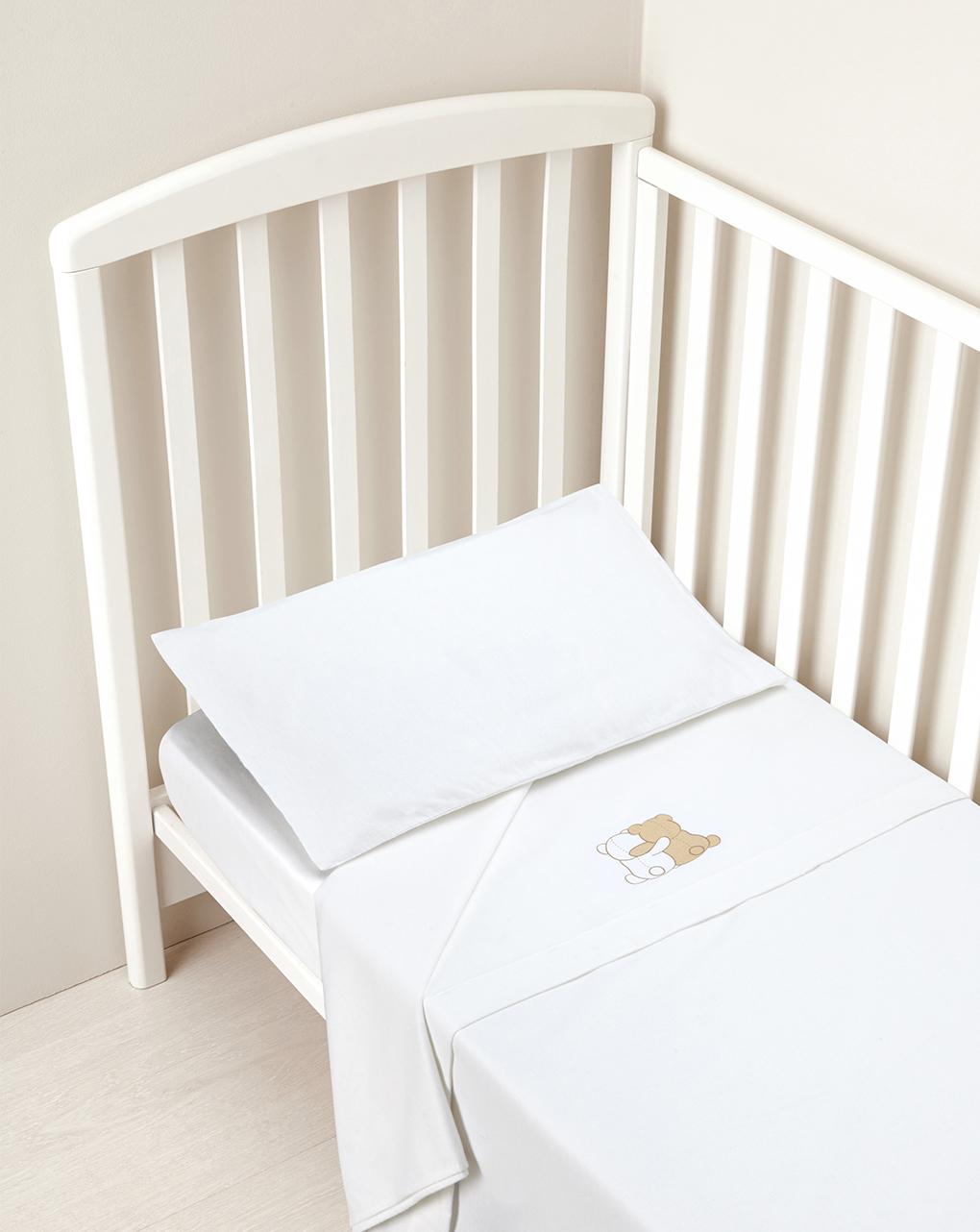 Prenatal Σετ για κρεβάτι Φανέλα 3 τεμ. Λευκό με Αρκουδάκι - 65 x 135 cm