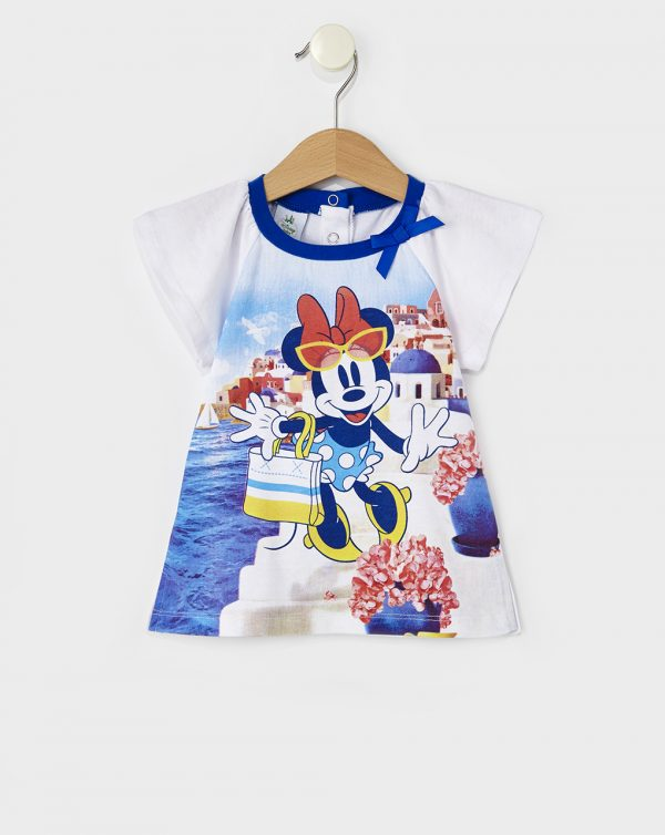 T-Shirt Jersey Λευκό με Στάμπα Minnie για Κορίτσι
