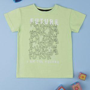 T-Shirt Ανοιχτό Πράσινο με Στάμπα για Αγόρι
