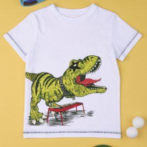 T-Shirt Jersey Λευκό με Δεινόσαυρο για Αγόρι