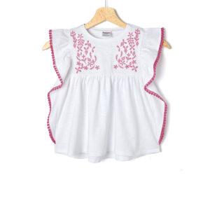 T-Shirt Jersey Λευκό με Κεντήματα για Κορίτσι
