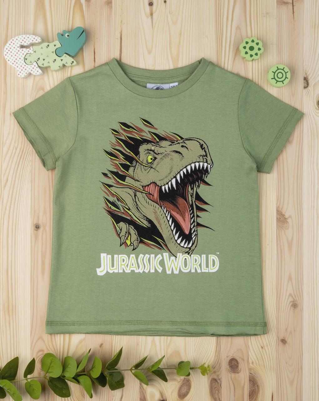 T-shirt Βαμβακερό Χακί Jurassic για Αγόρι