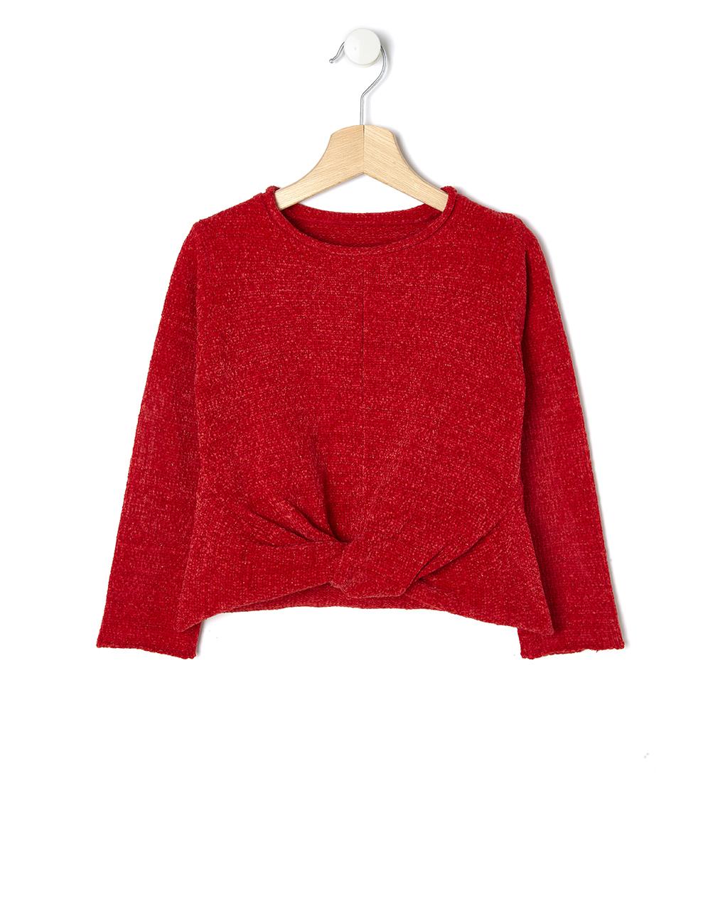 Μπλούζα Πλεκτή Σενίλ κόκκινη με Lurex για Κορίτσι