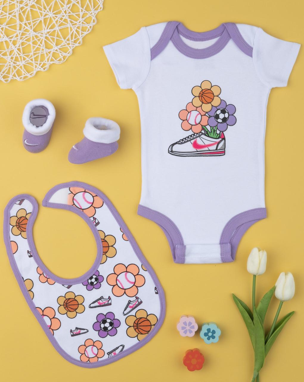 Σετ Nike Κορμάκι-Σαλιάρα-Καλτσάκια για Κορίτσι 6-12 μηνών