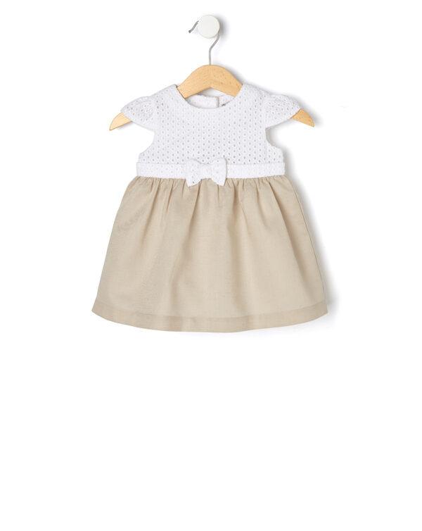 Φόρεμα Λινό Μπεζ με Δαντέλα για Κορίτσι