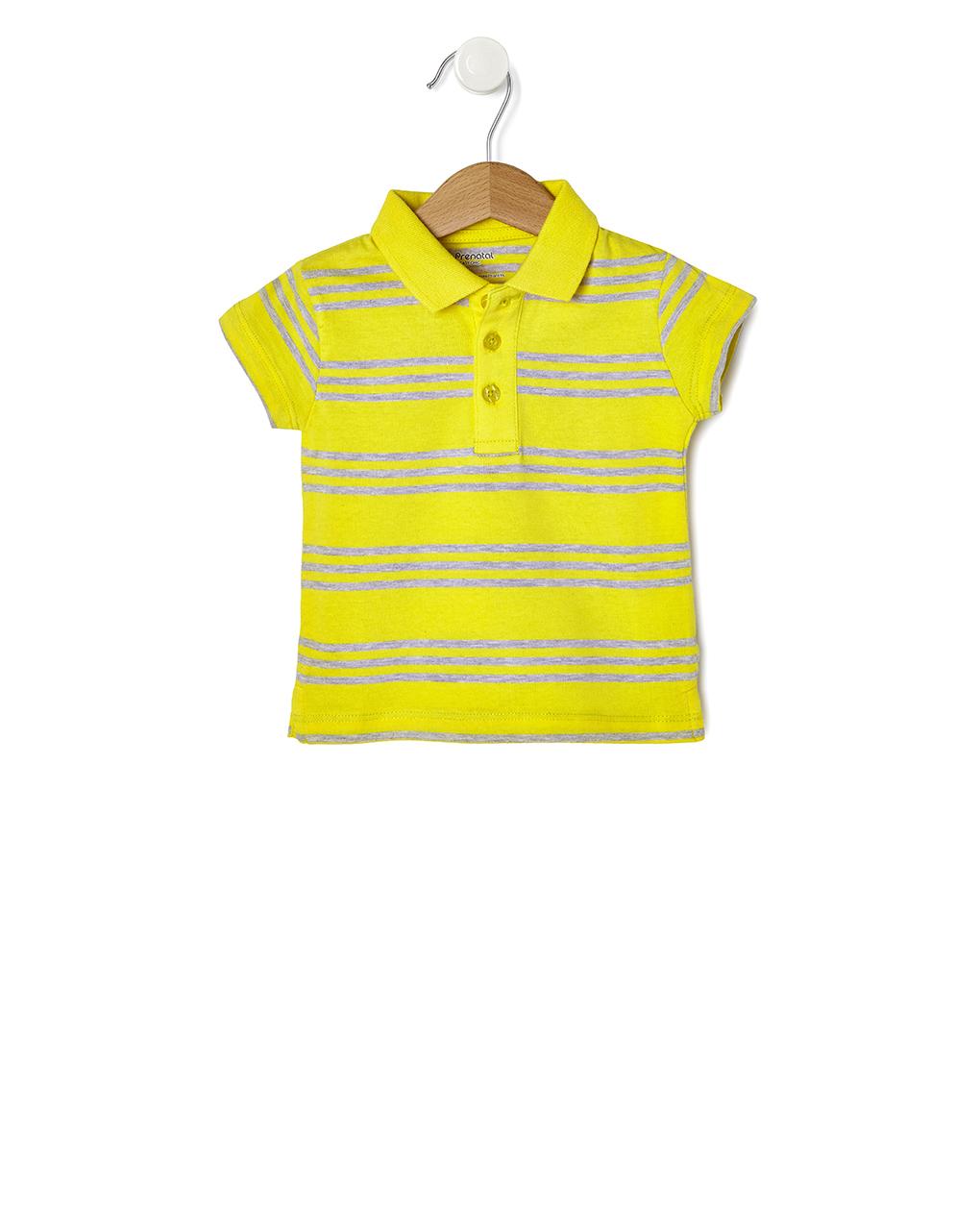 T-shirt Jersey Πόλο Ριγέ Κίτρινο - Γκρι για Αγόρι