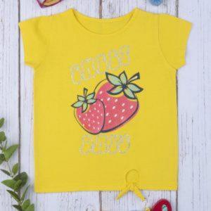T-Shirt Jersey Κίτρινο με Στάμπα και Δέσιμο Μεγ.8-9/9-10 Ετών για Κορίτσι