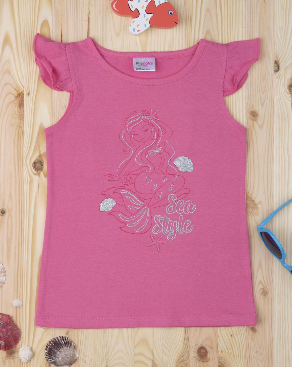 Αμάνικο Μπλουζάκι Φούξια με Στάμπα Γοργόνα για Κορίτσι