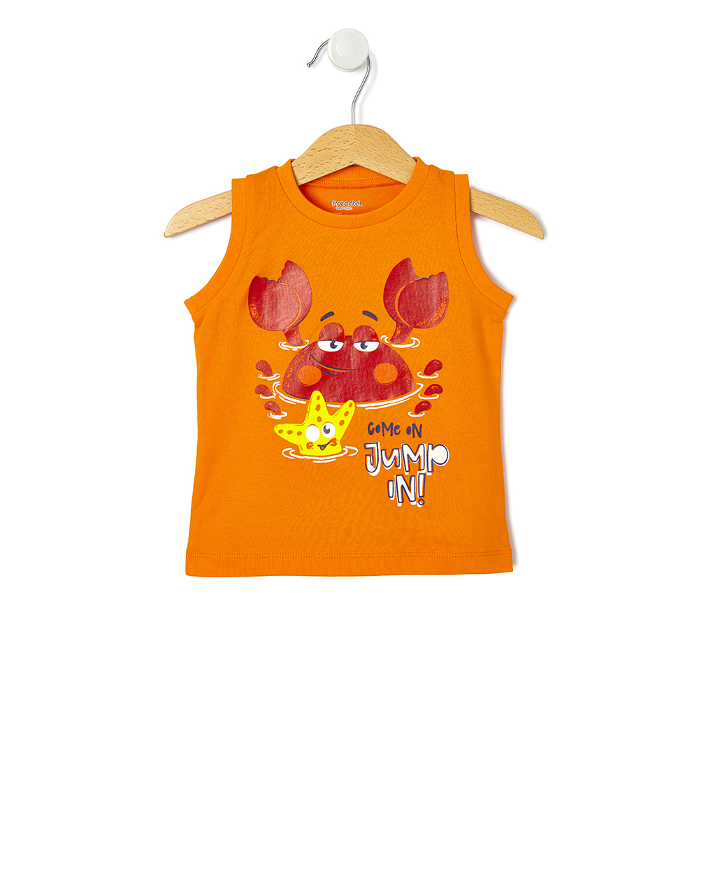 Μπλούζα Αμάνικη Πορτοκαλί με Στάμπα για Αγόρι