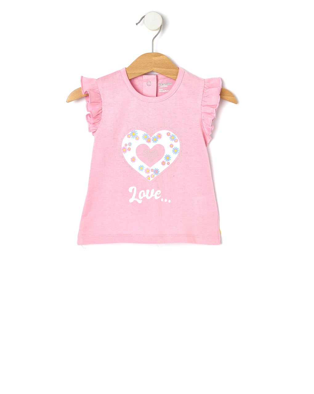 T-Shirt Jersey Ροζ με Στάμπα για Κορίτσι