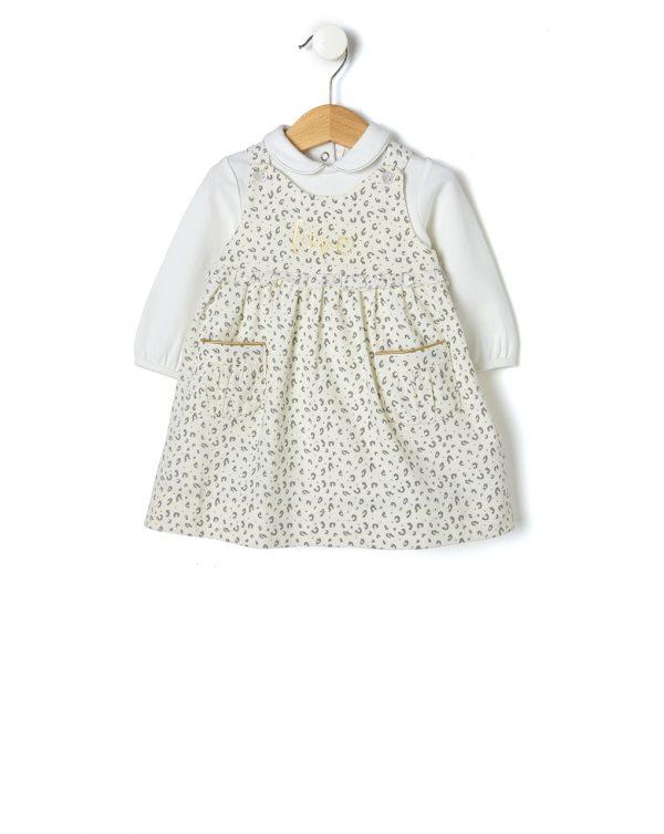 Σετ από Κοτλέ Αμάνικο Φόρεμα και Μπλούζα Polo για Κορίτσι