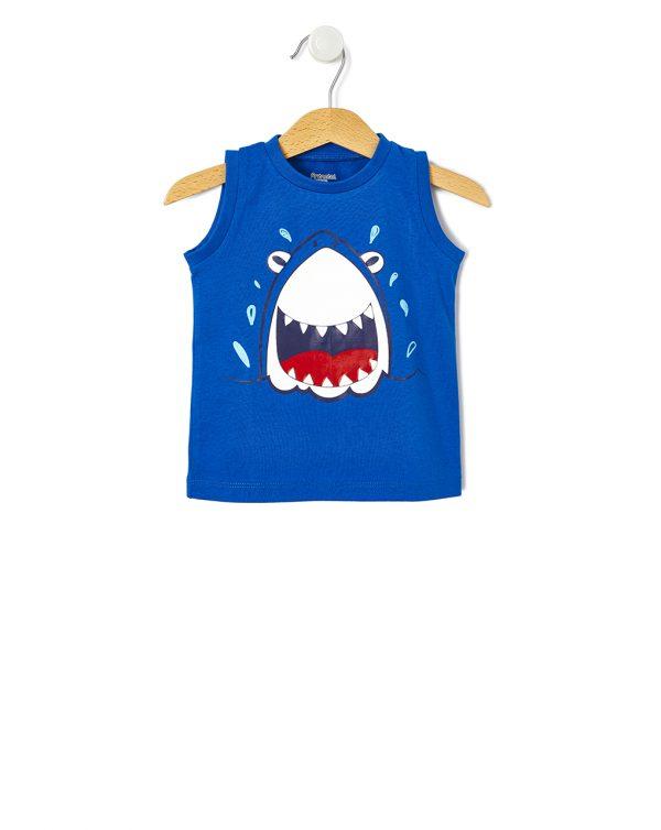 Μπλούζα Αμάνικη Μπλε με Στάμπα για Αγόρι
