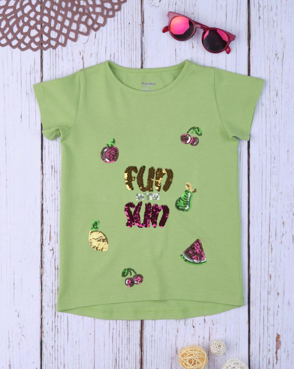 T-Shirt Jersey Ανοιχτό Πράσινο με Παγιέτες για Κορίτσι