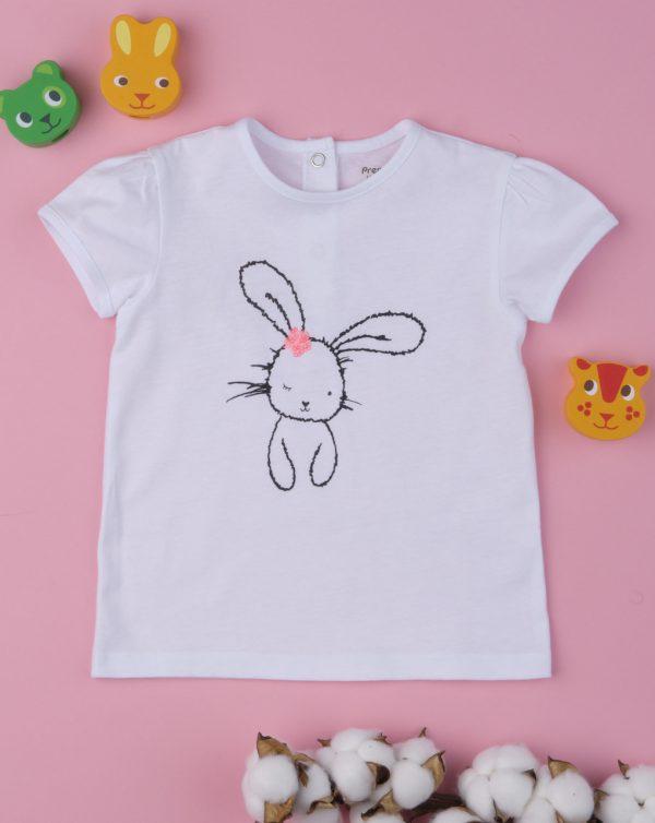 T-Shirt Λευκό με Στάμπα Λαγουδάκι για Κορίτσι