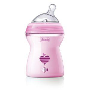 Chicco Natural Feeling Πλαστικό Μπιμπερό Ροζ Μέτριας Ροής για 2m+ με Θηλή Σιλικόνης, 250ml