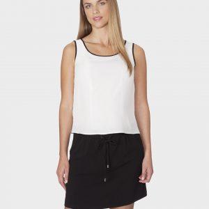 Γυναικείο Φόρεμα Αμάνικο Λευκό-Μαύρο