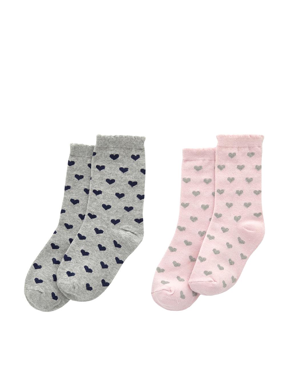 Κάλτσες Πακέτο x2 με Καρδούλες για Κορίτσι