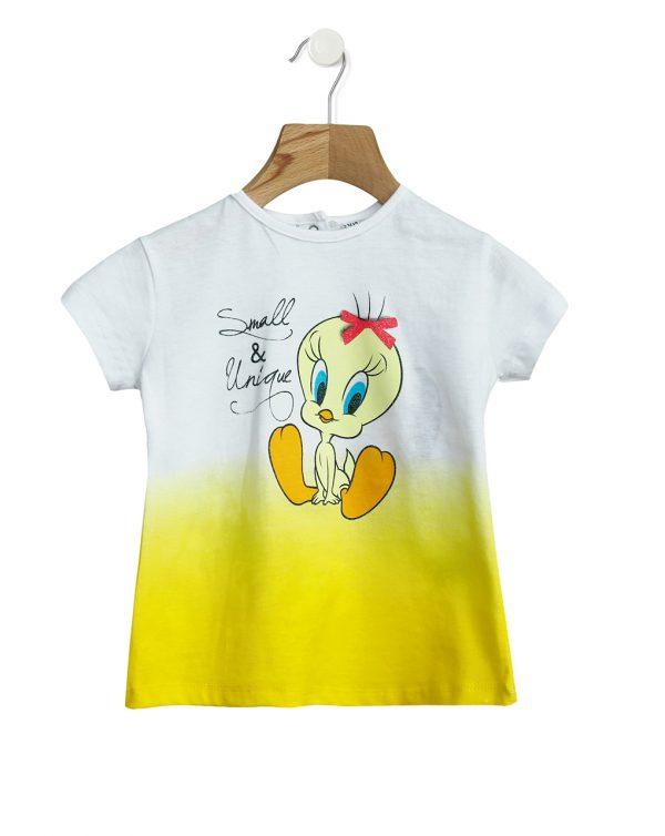 T-Shirt Jersey Δίχρωμο με Στάμπα Tweety για Κορίτσι